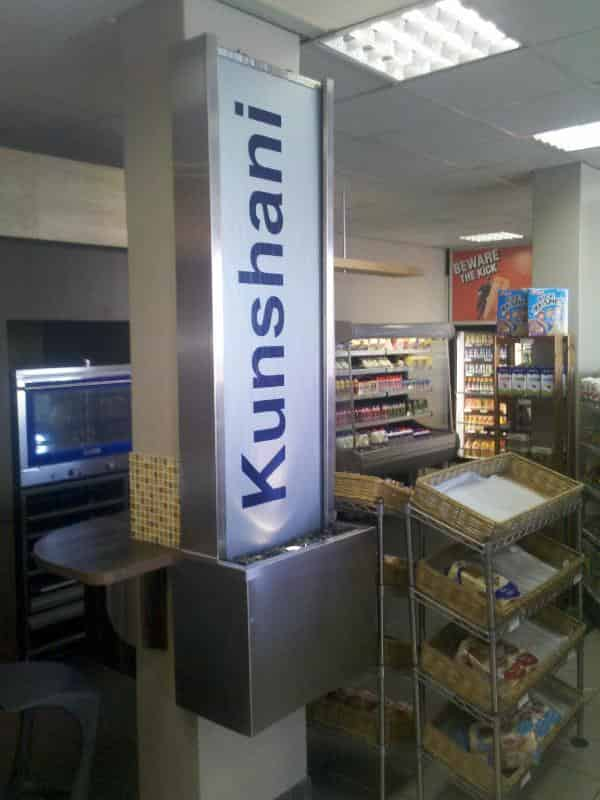 Prefab plexiglass wetwall fix onto column for Kunshani Motors - Claremont