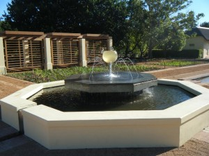 Cape Town Water Features Fountain in centre of biopond Vergelegen